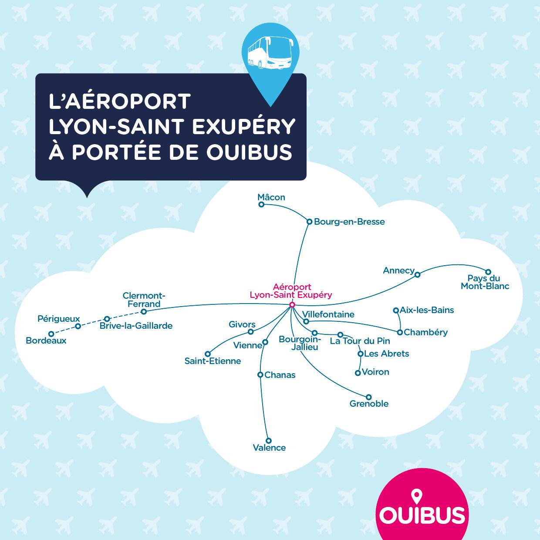 Carte lignes de bus réseau OUIBUS aéroport Lyon Saint Exupéry