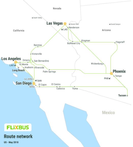 Carte réseau lignes bus FlixBus United States