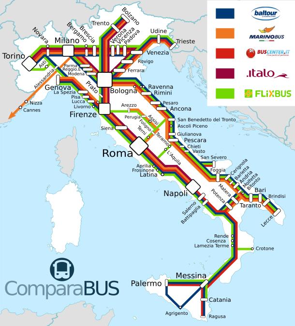 Carte ligne de bus en Italie, destinations, villes desservies