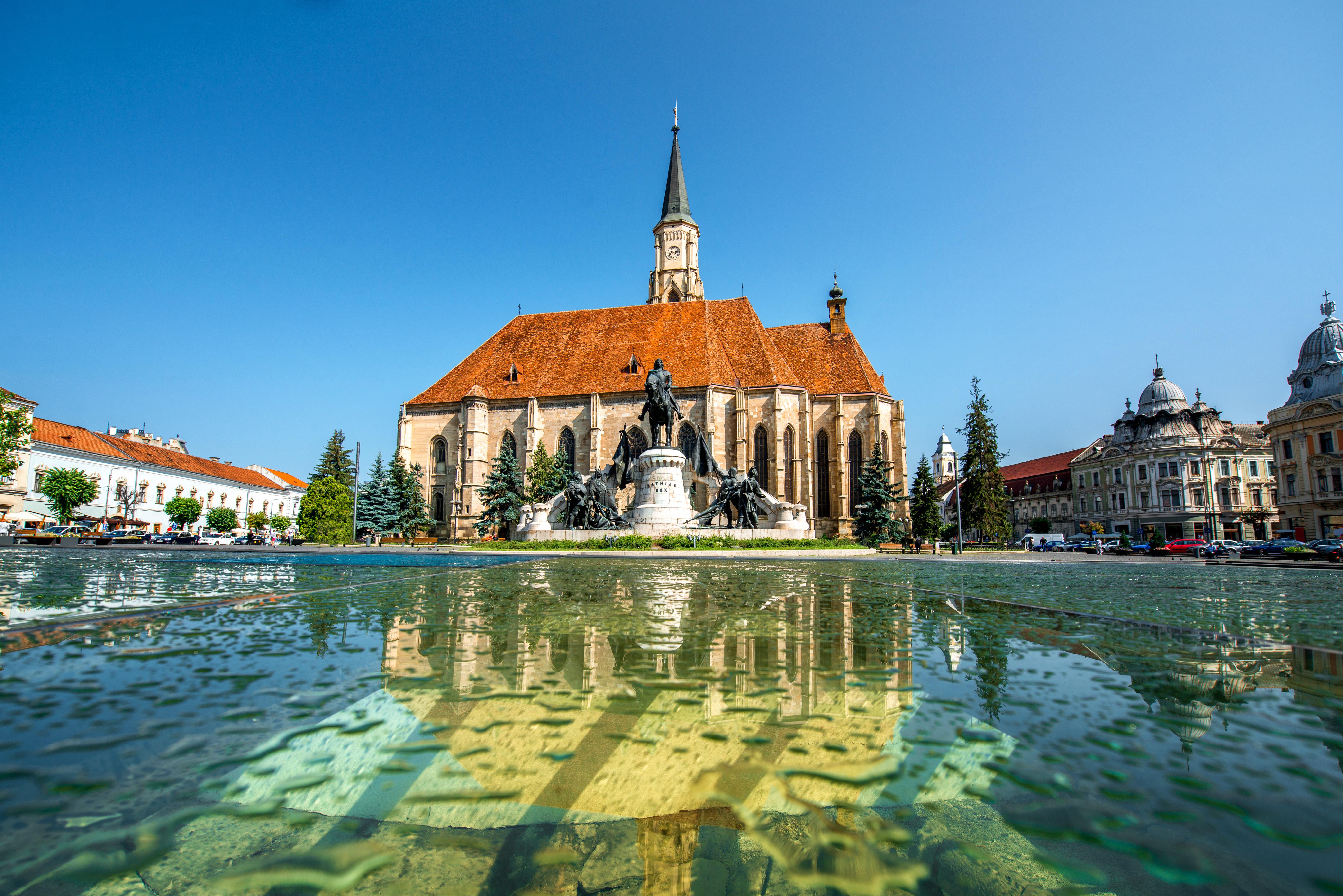 Michael's church and Matthias Corvinus monument in Cluj Napoca in Romania