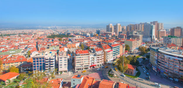 General view of Bursa City. Travel in Turkey by bus