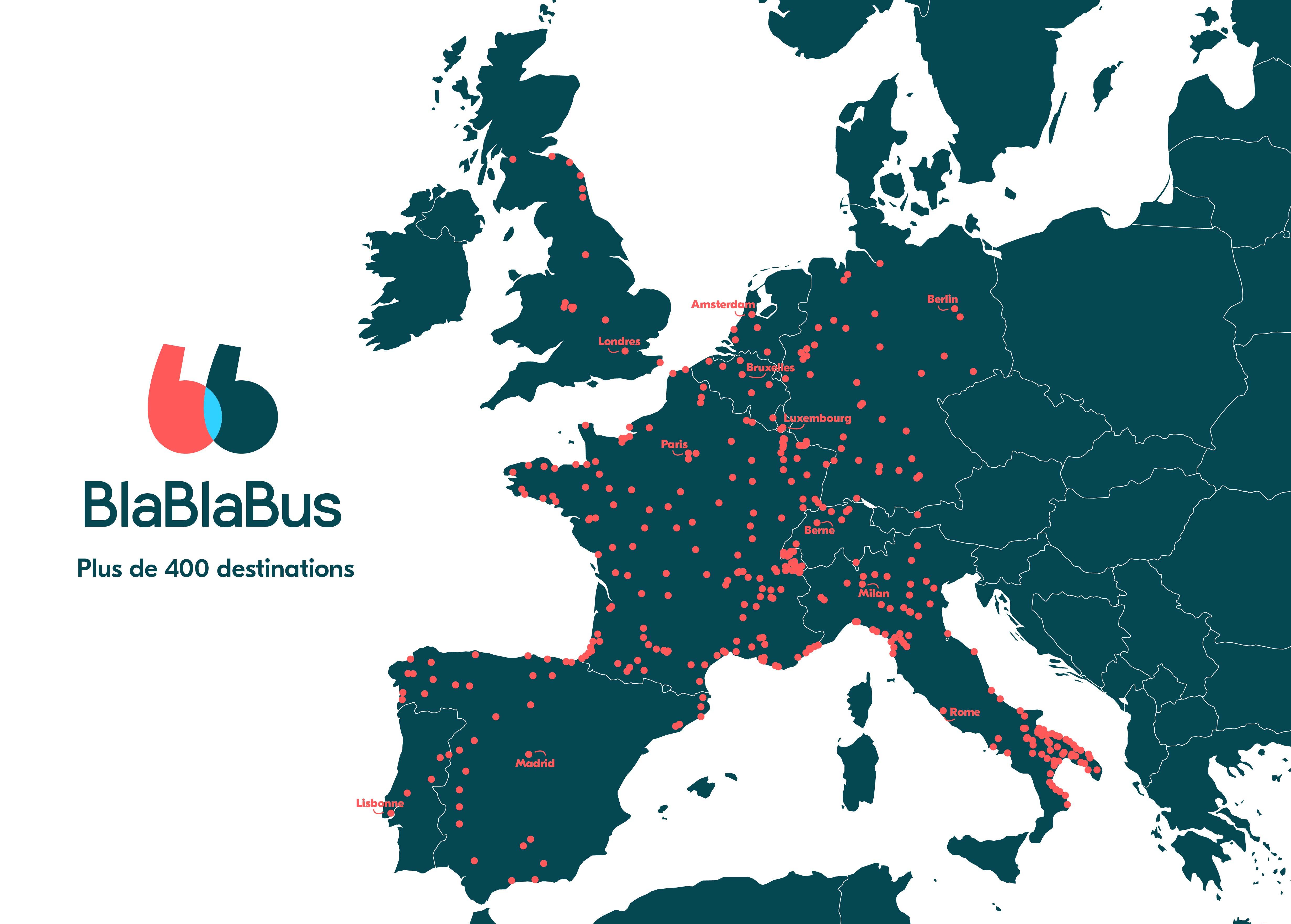 Carte du réseau de lignes de bus Blablabus en France