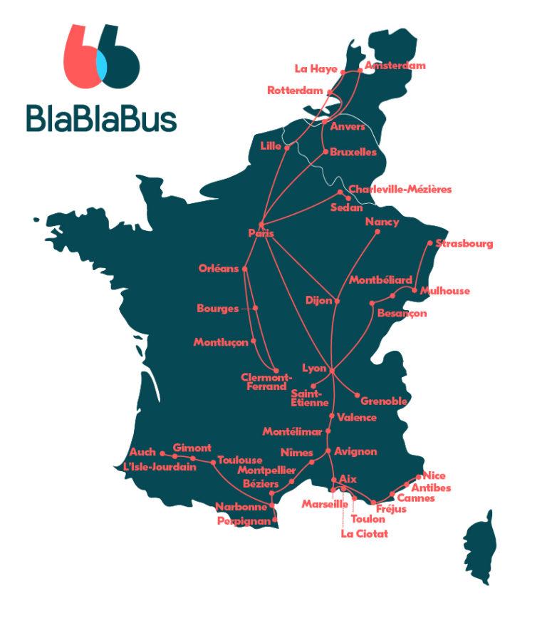 Carte Réseau lignes de bus Blablabus en France, Belgique, Pays Bas